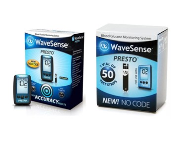 WaveSense Presto Glucose Meter with 50 Test Strips 800003329- 1 Each