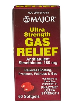 Rugby Gas Relief Softgels 180mg Ultra Strength Major 252601- 60 Count