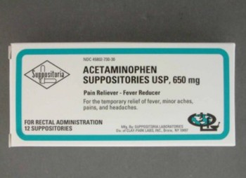 Pain Relief Suppository Rectal 650mg Acetaminophen 45802073030- Box/12