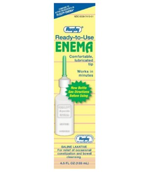 Rugby Enema Saline Laxative Rectal Solution 135mL 3682275- 1 Each