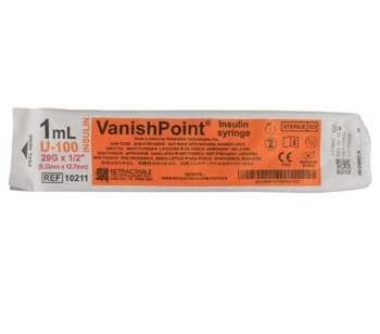 VanishPoint Insulin Syringe 1mL 29G 0.5 Inch Needle 10211- 1 Each