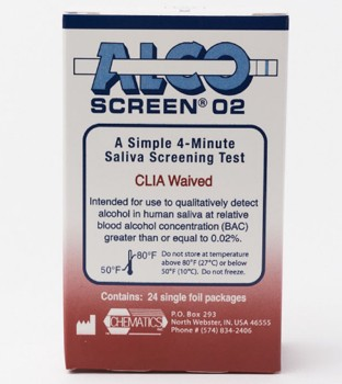 Alco Screen O2 Saliva Alcohol Test DOT Approved Alere 56024- Box/24