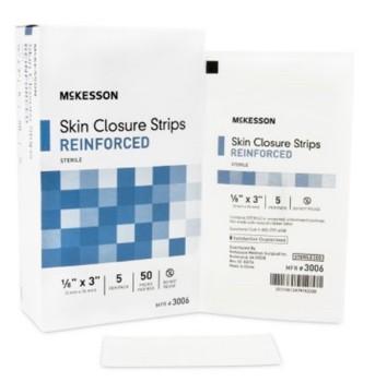 Skin Closure Strips 1/8 x 3 Inch Reinforced Wht McKesson 3006- Pack/5