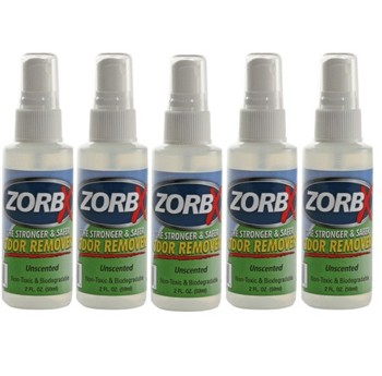 Zorbx Tough Odor Remover 2 Ounce Travel Spray Unscented 1110- Pack/5
