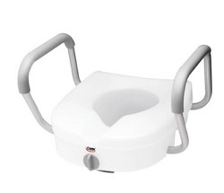 Toilet Seat Raised 5 Inch EZ Lock Fixed Arms Carex B30400- 1 Each