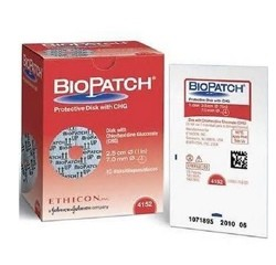 Box of IV Dressings Biopatch 1 Inch Disk with 7mm Hole 4152- Box/10
