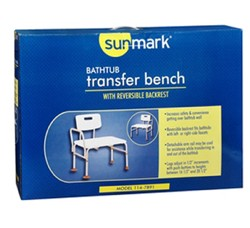 Bath Transfer Bench Adj Height Reversible Back Sunmark 1147891- 1 Each