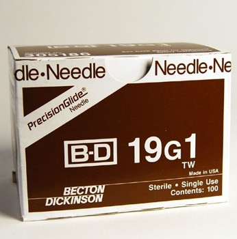 BD PrecisionGlide Thin Wall Needles 19G 1 Inch BD 305186- Box/100