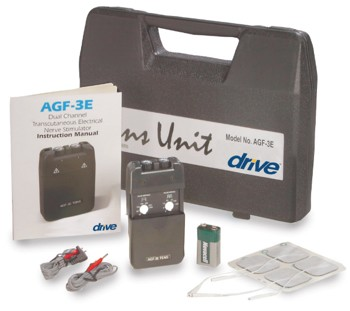 TENS Unit 2-Channel Complete Kit with Case Drive Medical AGF3E- 1 Each