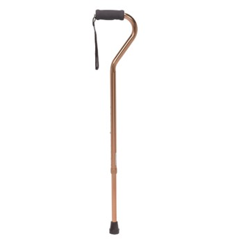 Cane Offset Handle with Foam Grip Strap Bronze Drive RTL10307- 1 Each