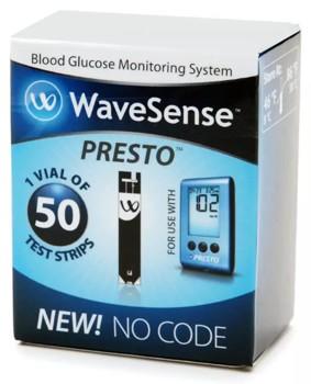 WaveSense Presto Blood Glucose Test Strips AgaMatrix 800003329- Box/50